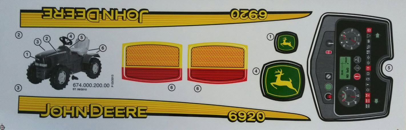 Aufkleber Traktor Aufklebersatz passend zu John Deere 6900 Trecker Schlepper